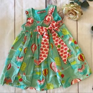 Jelly the Pug Hot Air Ballon Dress Blue Green